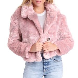 Free People Pink Fuzzy Faux Fur Teddy Coat Size XS Cropped